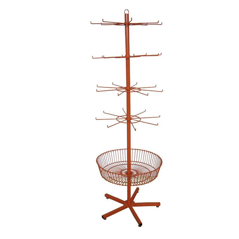 Grocery Spinner Rotating Floor Display Stand With Hooks And Basket